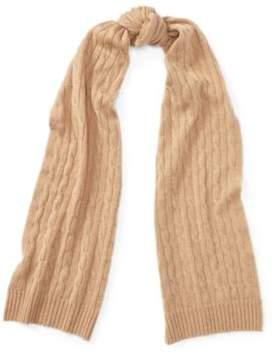 Ralph Lauren Cable-Knit Cashmere Scarf Camel Melange One Size