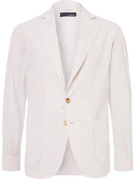 Lardini Beige Unstructured Striped Cotton-Seersucker Blazer