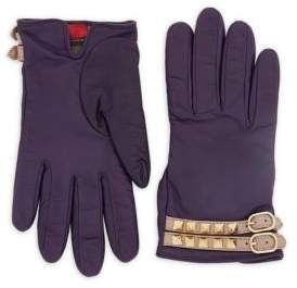 RED Valentino Studded Buckled Leather Gloves