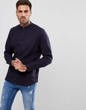 Pull&Bear Brushed Cotton Grandad Collar Shirt In Navy