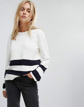 Noisy May Stripe Detail Sweater With Tie Sleeves