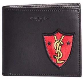 Saint Laurent Shield Patch Wallet - BLACK - STYLE