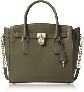 Michael Kors Hamilton Large Olive Green Pebbled Leather Satchel Bag - ONE COLOR - STYLE