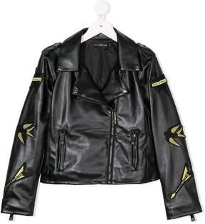 John Richmond Kids faux leather badge jacket