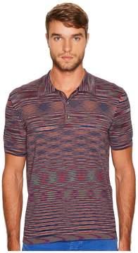 Missoni Fiammato Rigato Short Sleeve Knit Polo Men's Sweater