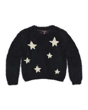 Imoga Chelsea Fluffy Knit Star Sweater, Black, Size 8-14