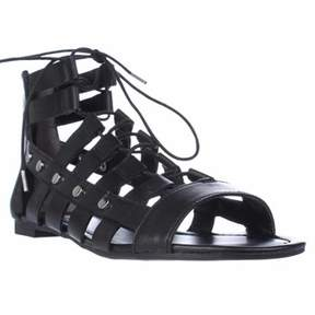 Bar III B35 Reese Lace Up Gladiator Sandals, Black.