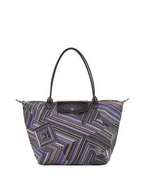 Longchamp Le Pliage OPT Art Large Shoulder Tote, Navy - AMETHYST - STYLE