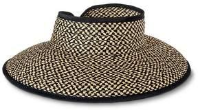 Merona Women's Straw Roll Up Visor Wrap Hat Black & Tan