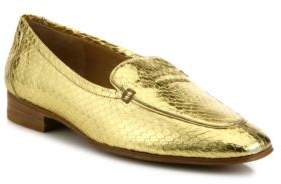 The Row Adam Metallic Snakeskin Loafers