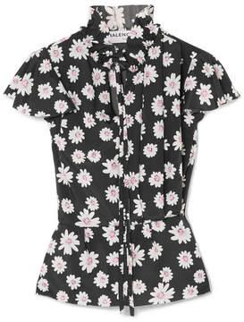 Balenciaga Floral-print Satin Top - Black