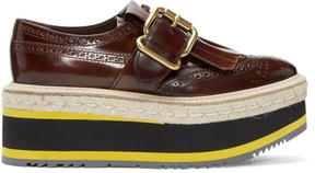 Prada Brown Double Platform Monk Brogues