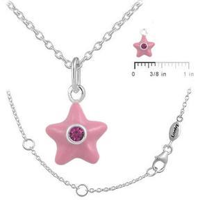 Ice Girls' Sterling SIlver July Birthstone Enamel Star Pendant Necklace (12-18 In)