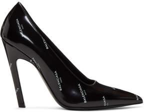 Balenciaga Black All Over Logo Slash Heels