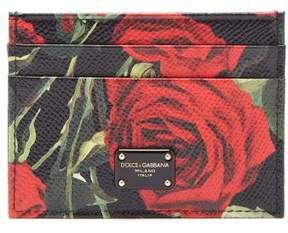 Dolce & Gabbana Rose Print Leather Cardholder - Womens - Black Red