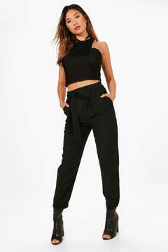 boohoo Naima Soft Touch Tie Waist Turn Up Trousers
