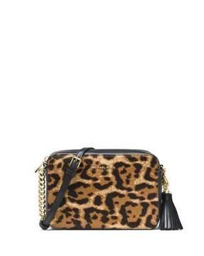 MICHAEL Michael Kors Ginny Medium Leopard-Print Calf Hair Camera Bag - BUTTERSCOTCH - STYLE