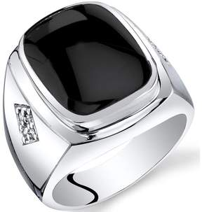 Ice Men's Genuine Black Onyx Sterling Silver Knight Fashion Ring