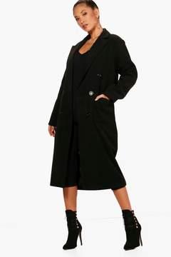 boohoo Long Line Double Breasted Wool Look Coat