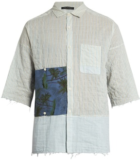 Longjourney G short-sleeved striped cotton shirt