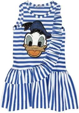 MonnaLisa Donald Duck Patch Cotton Jersey Dress