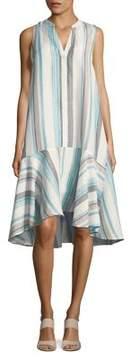 Context Stripe Flounce-Hem A-Line Dress