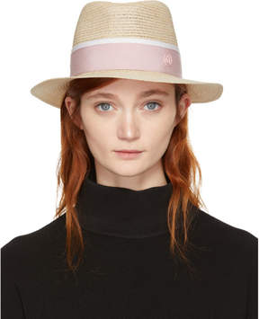 Maison Michel Beige and Pink Straw Andre Trilby