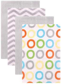 Luvable Friends Gray & White Flannel Burp Cloth Set