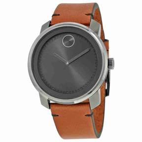 Movado Bold Grey Dial Brown Leather Men's Watch 3600366