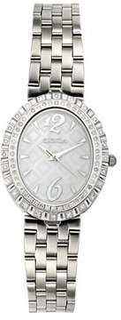 Croton Ladies Swiss Quartz Diamond Bezel Watch with Patterned Mother of Pearl Dial
