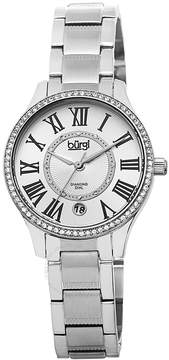 Burgi Stainless Steel Silver-Tone Diamond Dial Ladies Watch