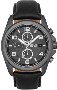 JCPenney RELIC Relic Daley Mens Black Leather Strap World-Time Sport Watch ZR15795
