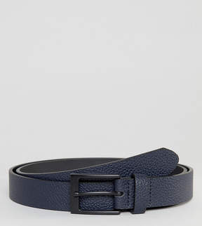 Asos PLUS Smart Slim Belt With Pebble Grain Emboss In Navy Faux Leather