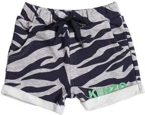 Kenzo Zebra Print Cotton Sweat Shorts