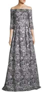 Theia Off-the-Shoulder Metallic Brocade 3/4 Sleeve Evening Gown