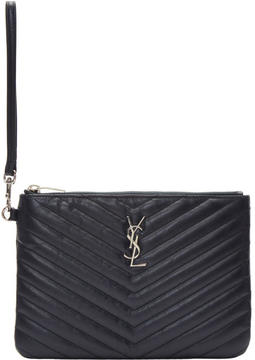 Saint Laurent Navy Quilted Monogram Pouch - NAVY - STYLE
