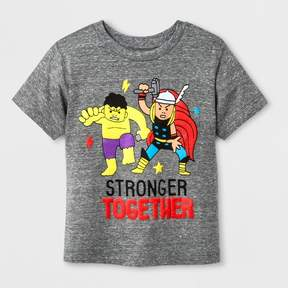 Marvel Toddler Boys' Incredible Hulk and Thor Stronger Together Short Sleeve T-Shirt - Light Gray