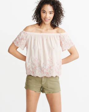 Abercrombie & Fitch Off-The-Shoulder Embroidered Blouse