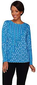 Bob Mackie Bob Mackie's Long Sleeve Patchwork Printed Knit Top