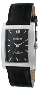 Peugeot Watches Men's Leather Strap Watch - Black