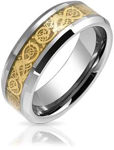 Dragon Optical Bling Jewelry Tungsten Celtic Gold Plated Inlay Unisex Wedding Band.