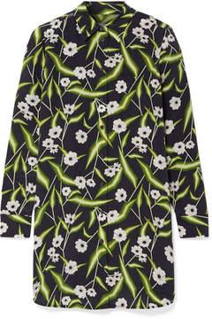 Equipment Brett Printed Washed-silk Mini Dress - Black