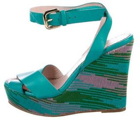 M Missoni Leather Platform Wedge Sandals