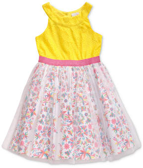 Sweet Heart Rose Toddler Girls Floral-Print Glitter Mesh Dress