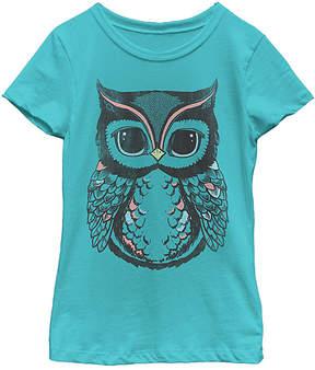 Fifth Sun Tahiti Blue Defined Owl Tee - Girls