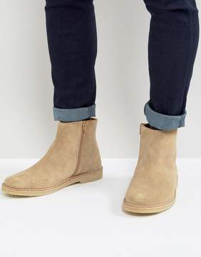 Zign Shoes Suede Zip Boots In Stone