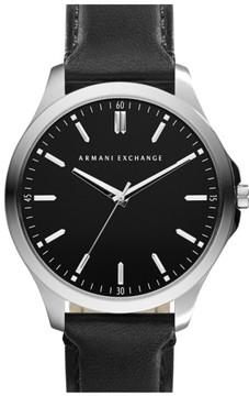 Armani Exchange Men's Round Leather Strap Watch, 45Mm