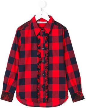 Miss Blumarine check ruffle shirt
