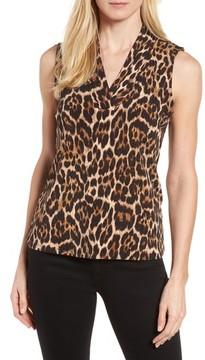 Anne Klein Women's Leopard Print Pleat V-Neck Top