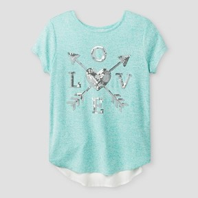 Miss Chievous Girls' Cap Sleeve Top With Sequin Heart And Back Bow - Mint